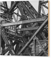 Iron Bridge Close Up In Black And White Wood Print