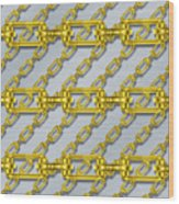Iron Chains With Brushed Metal Seamless Texture Wood Print