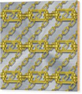 Iron Chains With Brushed Metal Texture Wood Print
