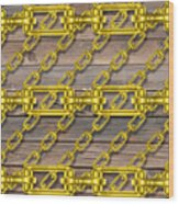 Iron Chains With Wood Texture Wood Print