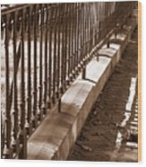 Iron Fence With Shadows Wood Print