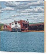 Iron Ore Loading Onto Laker Wood Print