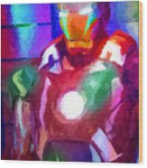 Ironman Abstract Digital Paint 2 Wood Print