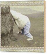 Is Bunny Behind Tree? Wood Print