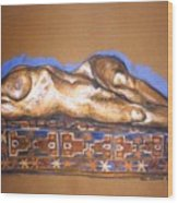 Isabel On Afghan Carpet Wood Print