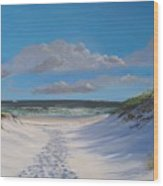 Island Beach Dune Walk Wood Print