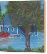 Island Boathouse Wood Print