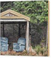 Island Bus Stop - 365-141 Wood Print