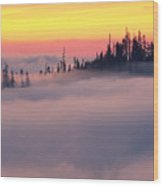 Island In The Fog Wood Print
