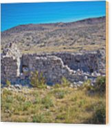 Island Of Krk Old Stone Ruins Wood Print