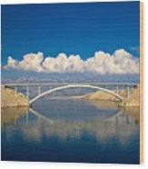 Island Of Pag Bridge And Velebit Mountain Wood Print
