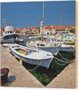 Island Of Prvic Harbor And Waterfront View In Sepurine Village Wood Print