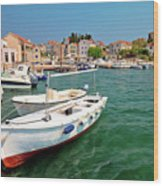 Island Of Prvic Turquoise Harbor And Waterfront View In Sepurine Wood Print