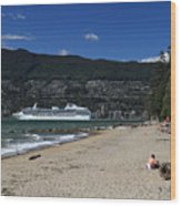 Island Princess Cruise Ship From Third Beach Stanley Park Vancouver B.c  Canada Wood Print