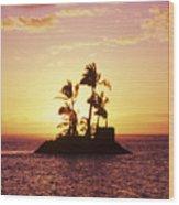 Island Silhouette Wood Print