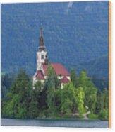 Island With Church On Bled Lake, Slovenia Wood Print