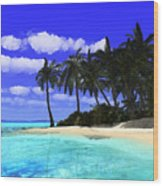 Island With Palm Trees Wood Print