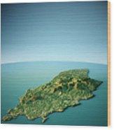 Isle Of Man 3d View South-north Natural Color Wood Print