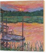 Isle Of Palms Sunset Wood Print