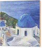 Isle Of Santorini Thiara  In Greece Wood Print