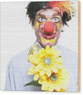 Isolated Clown In A Funny Summer Romance Wood Print