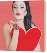 Isolated Pin Up Woman Holding A Heart Shaped Sign Wood Print