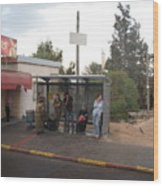Israeli Bus Stop Wood Print