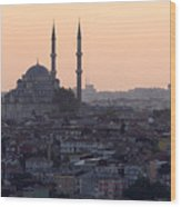 Istanbul Cityscape At Sunset Wood Print by Terje Langeland