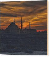 Istanbul Sunset - A Call To Prayer Wood Print by David Smith