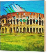 Italian Aerobatics Team Over The Colosseum Wood Print