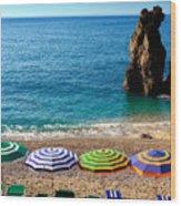 Italian Beach Scene Wood Print