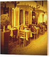 Italian Cafe In Golden Sepia Wood Print
