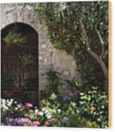 Italian Front Door Adorned With Flowers Wood Print