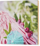 Italian Gelato Raspberry Ice Cream With Blue Umbrella Wood Print