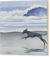Italian Greyhound At The Beach Wood Print