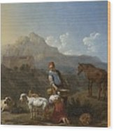 Italian Landscape With Girl Milking A Goat Wood Print