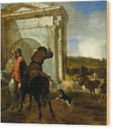 Italian Landscape With Horsemen By A Spring Wood Print