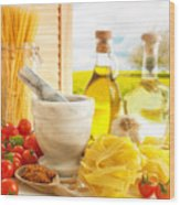 Italian Pasta In Country Kitchen Wood Print