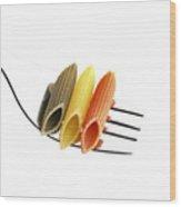 Italian Penne Pasta On A Fork Wood Print