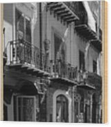 Italian Street In Black And White Wood Print by Stefano Senise