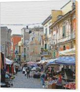 Italian Street Market in Ercolano Italy Wood Print