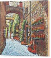 Italian Street Market Wood Print