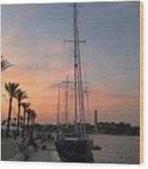 Italian Sunset And Sailboat Wood Print