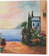 Italian Sunset Villa By The Sea Wood Print