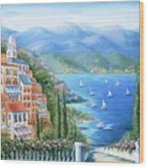 Italian Village By The Sea Wood Print