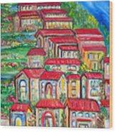 Italian Village On A Hill Wood Print