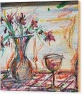 Italian Wine And Flower Vase On Table Wood Print