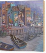 Italy Tuscan Decor Painting Seascape Village By The Sea Wood Print
