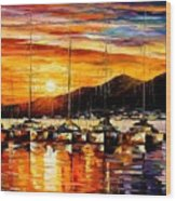 Italy - Naples Harbor- Vesuvius Wood Print