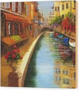 Italys Canal Street  Wood Print